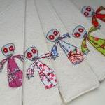 embroidered zombie fabric bookmarks